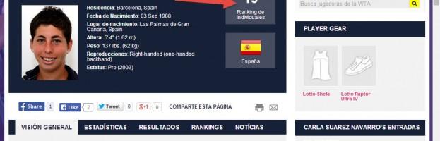 Carla Suárez, destacada a la web de la WTA