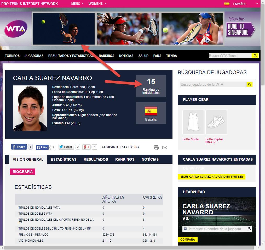 Carla Suárez, destacada en la web de la WTA